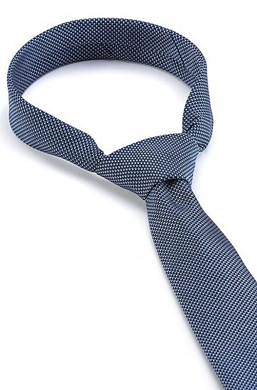 微图案真丝提花领带,  Dark Blue