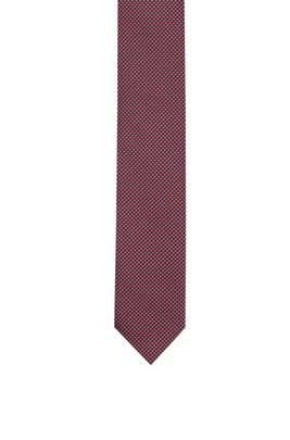Silk-jacquard tie with micro pattern, Pink Patterned