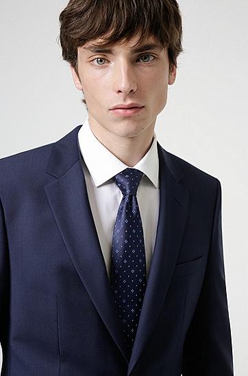 意大利制造真丝提花图案领带,  405_Dark Blue