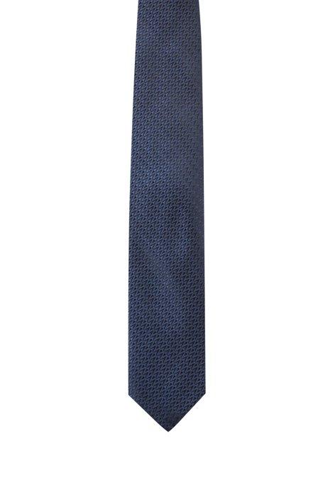 Zigzag-patterned tie in silk jacquard, Dark Blue