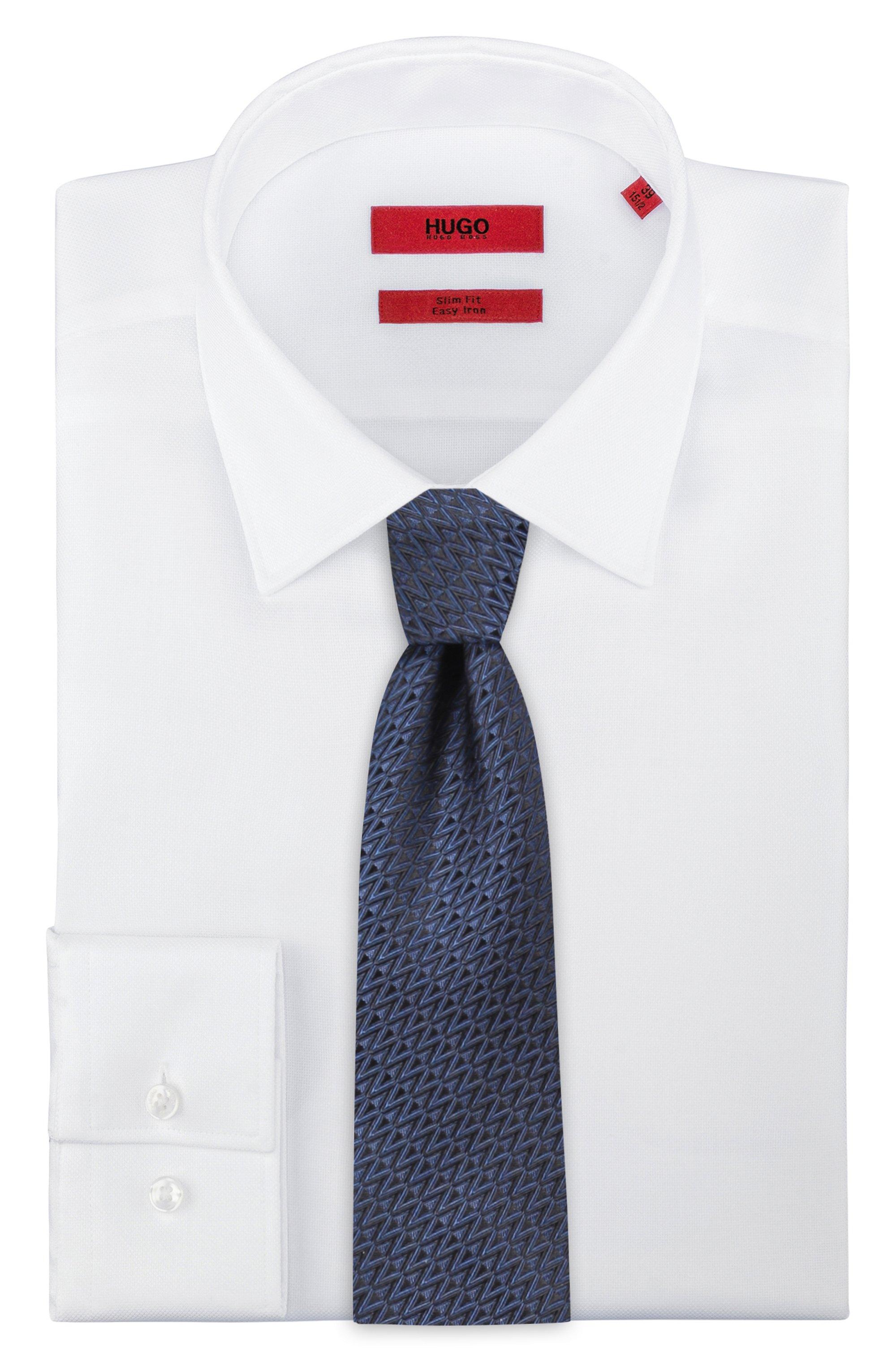 Zigzag-patterned tie in silk jacquard