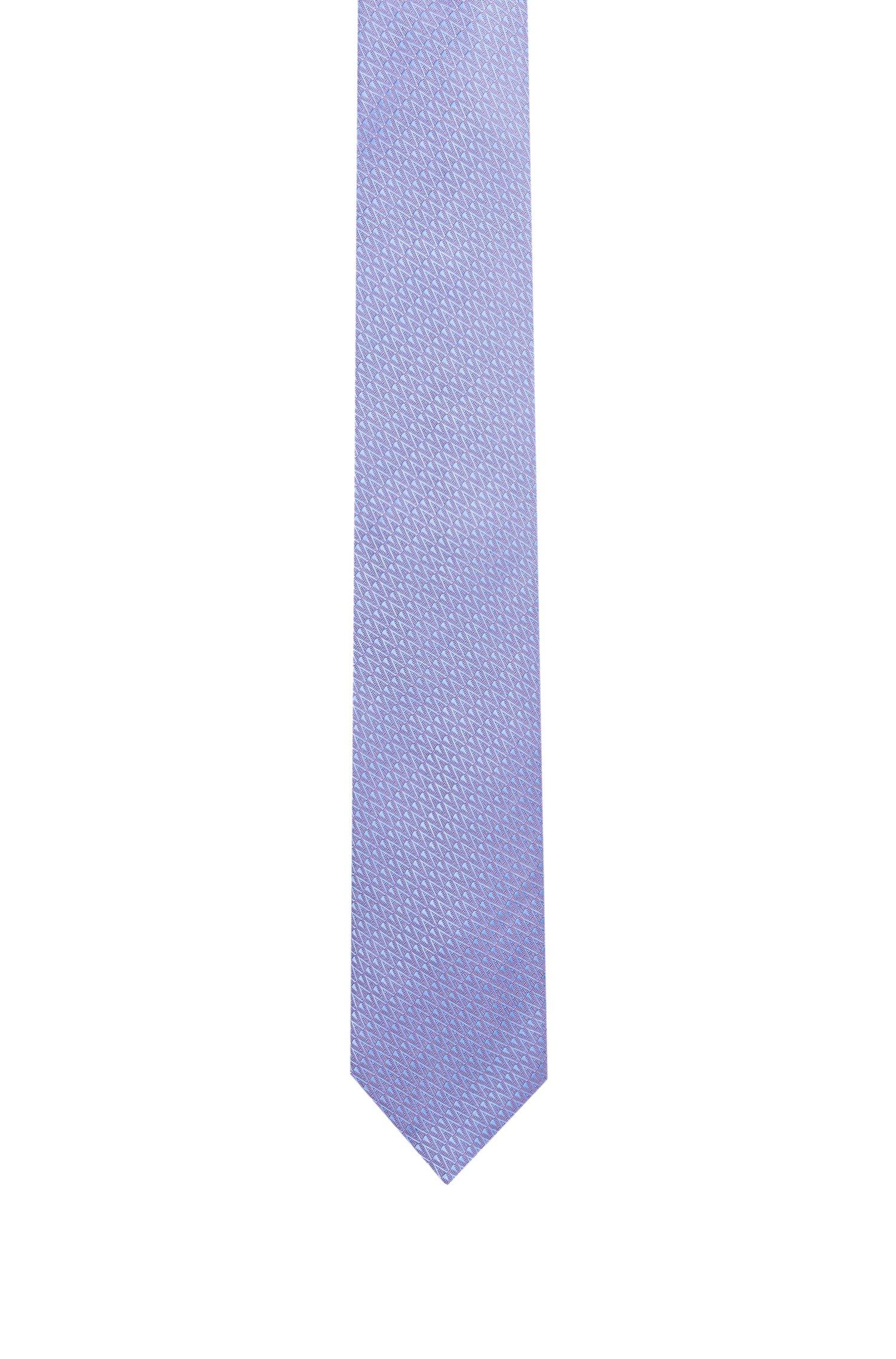 Zigzag-patterned tie in silk jacquard, Light Blue