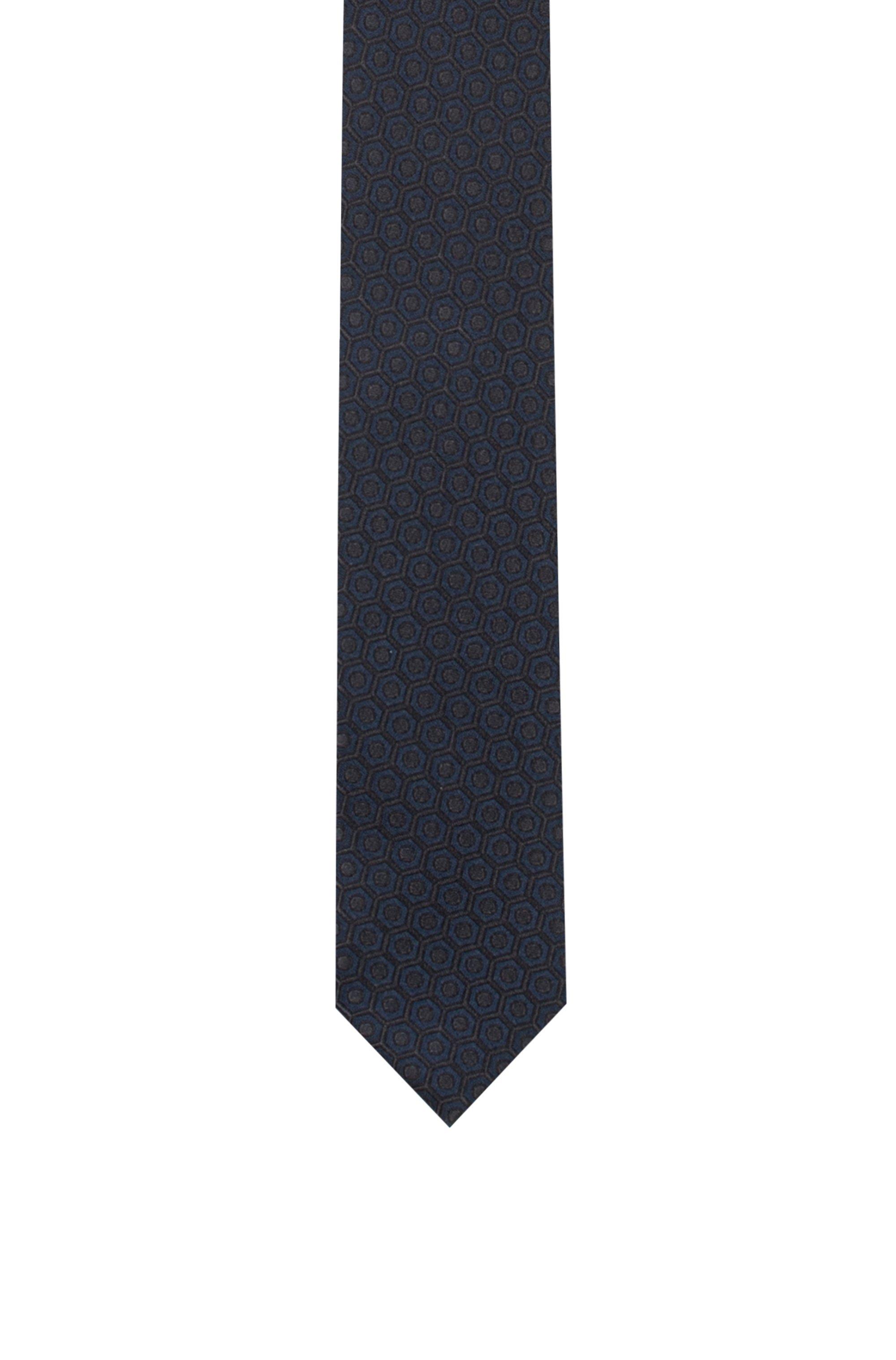 Silk-jacquard tie with macro pattern, Dark Grey