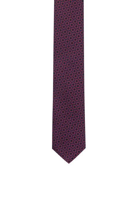 Silk-jacquard tie with macro pattern, Black Patterned