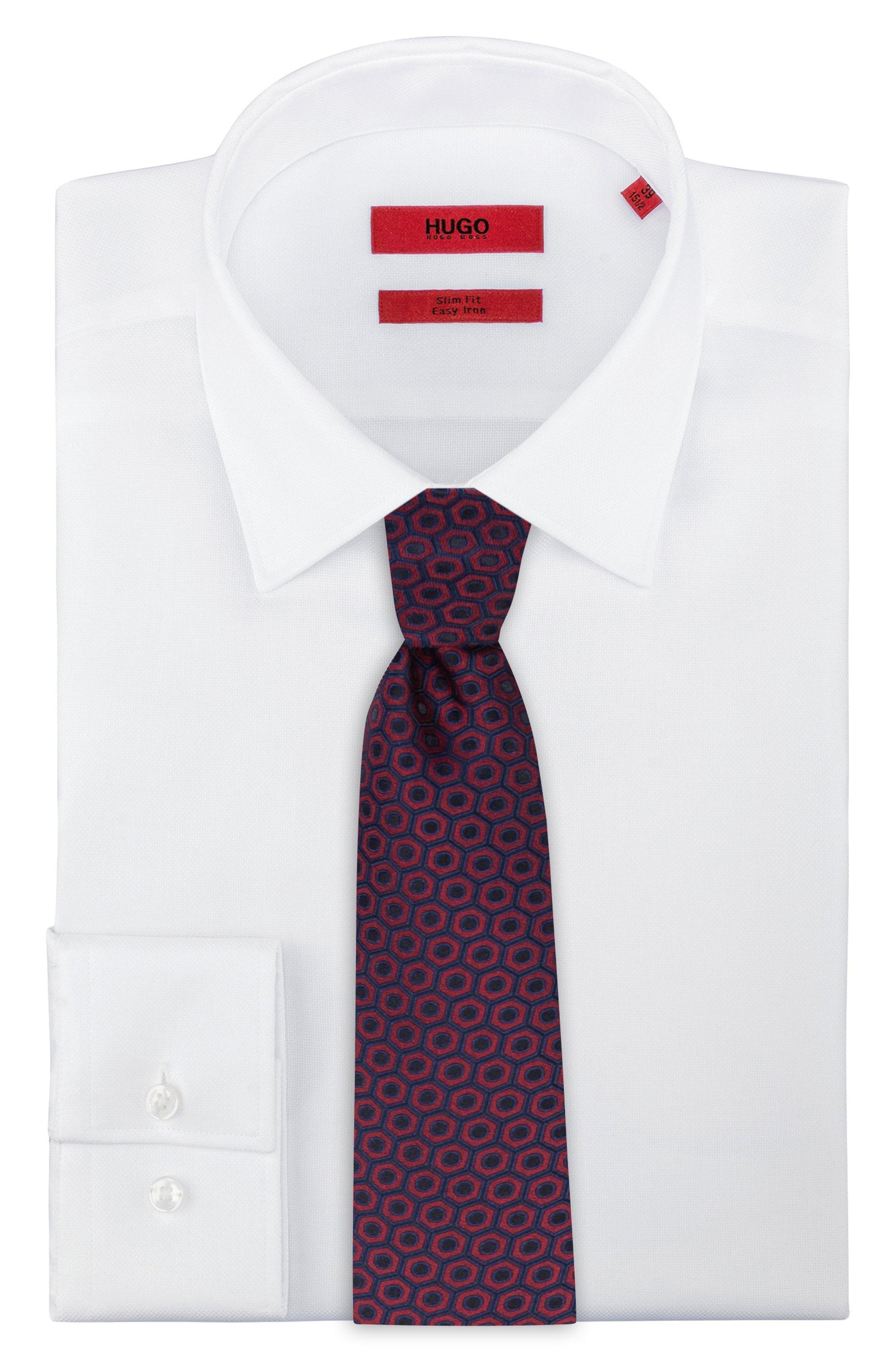 Silk-jacquard tie with macro pattern
