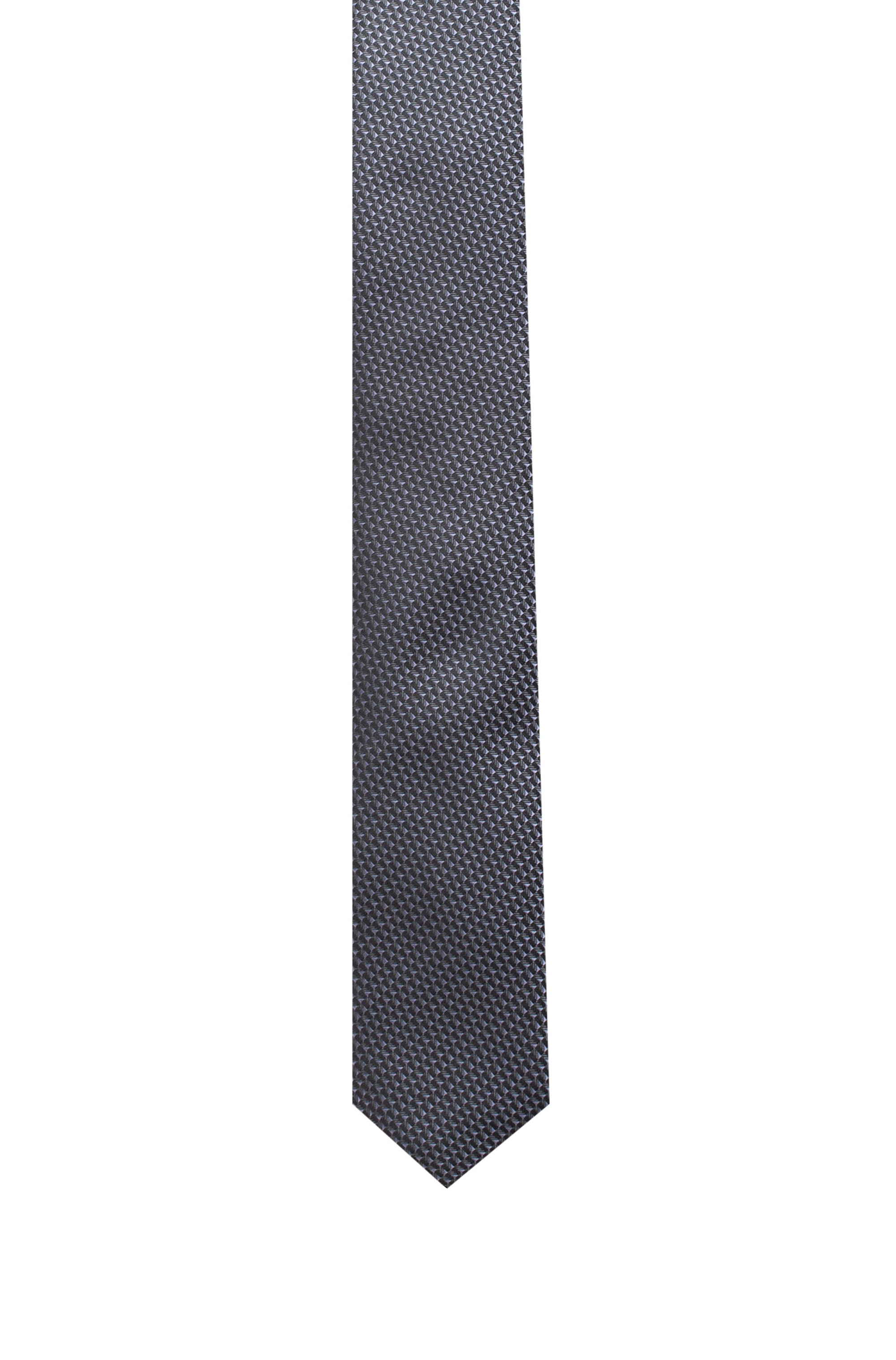 Silk tie with jacquard-woven micro pattern, Grey Patterned