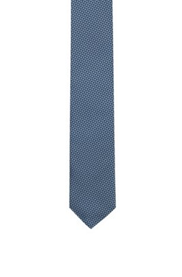Silk tie with jacquard-woven micro pattern, Blue Patterned