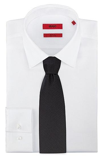 意大利制造微型图案真丝提花领带,  001_Black