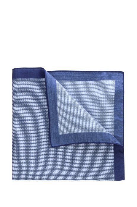 Twill pocket square with digital print, Blue Patterned