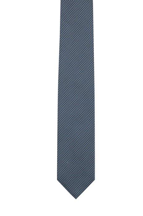 マイクロパターン ネクタイ シルクジャカード, ブルー パターン
