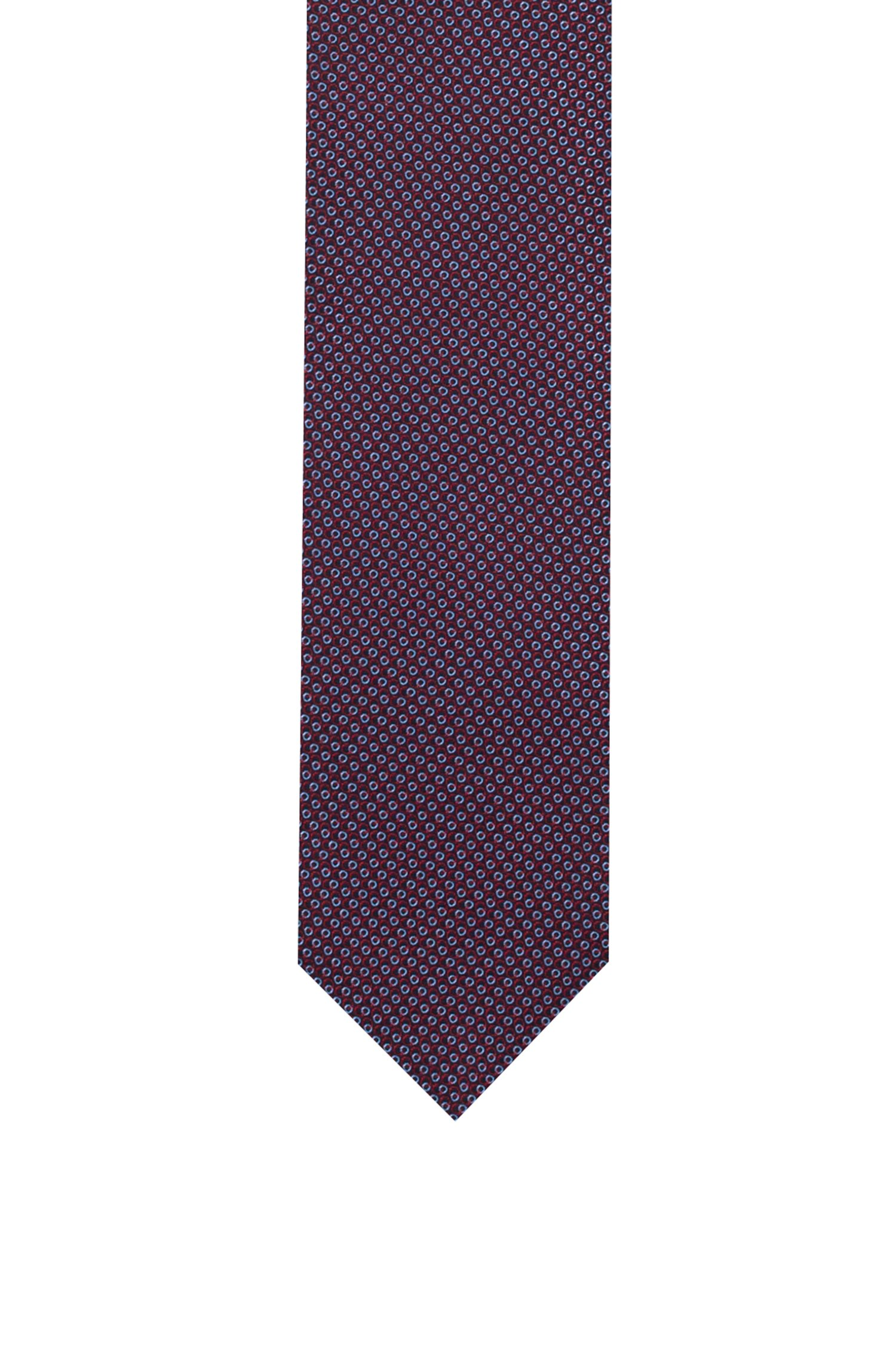 Micro-patterned tie in silk jacquard, Pink Patterned