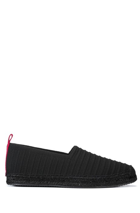 Knitted espadrilles with logo pull-loop, Black
