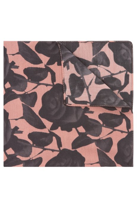 Pocket square in soft twill with floral print, Black Patterned