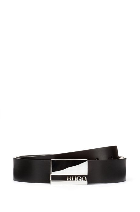 Italian-made belt in mirrored leather with plaque buckle, Black