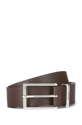 Italian-made belt in grained leather with logo keeper, Dark Brown