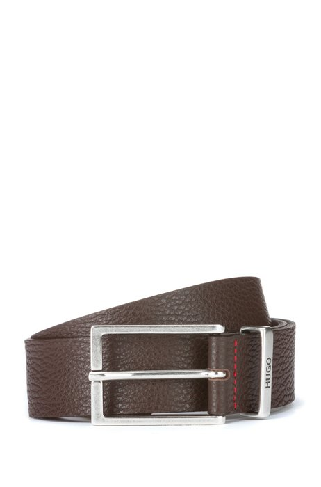 Belt in grained leather with logo keeper, Dark Brown