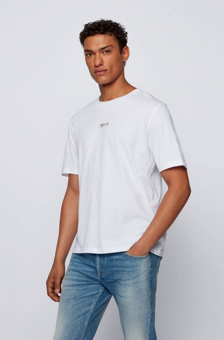 Cotton-jersey T-shirt with rainbow logo and rear slogan, White