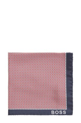 Italian-made printed pocket square with rolled hem, Red Patterned