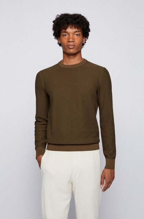 Jacquard-knit sweater in organic cotton and kapok, Dark Green