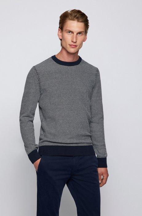 Jacquard-knit sweater in organic cotton and kapok, Dark Blue