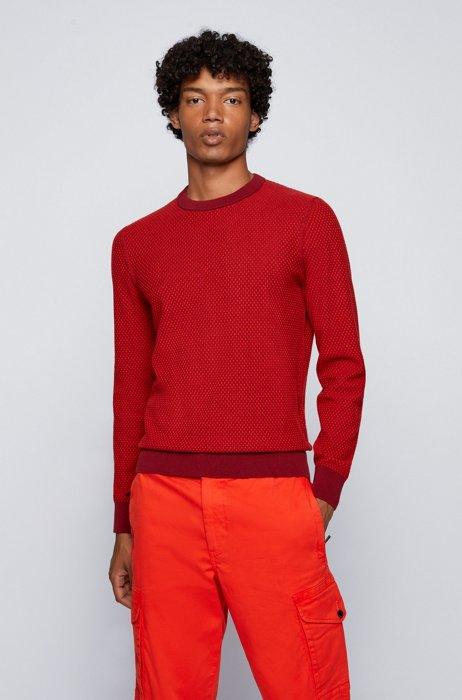 Jacquard-knit sweater in organic cotton and kapok, Red