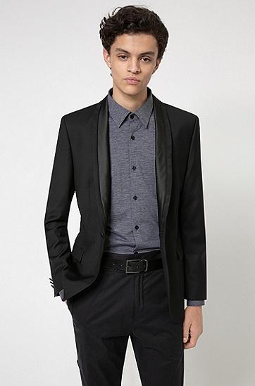 意大利制造光滑皮革双面腰带,  002_Black