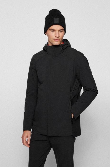 Waterafstotende regular-fit jas met lichte vulling, Zwart