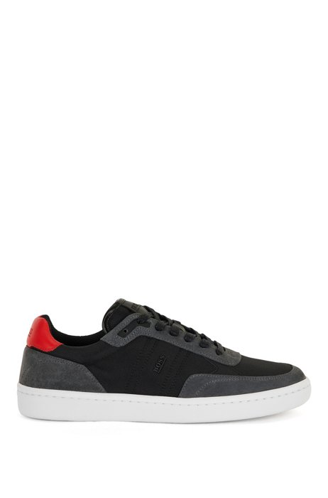 Cupsole trainers in SEAQUAL™ fabric with suede trims, Dark Grey