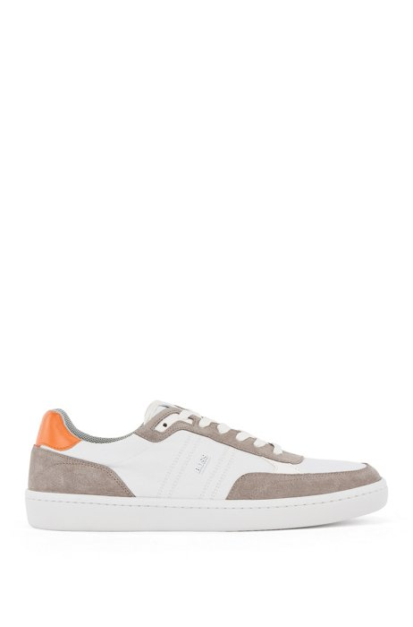 Cupsole trainers in SEAQUAL™ fabric with suede trims, Light Grey