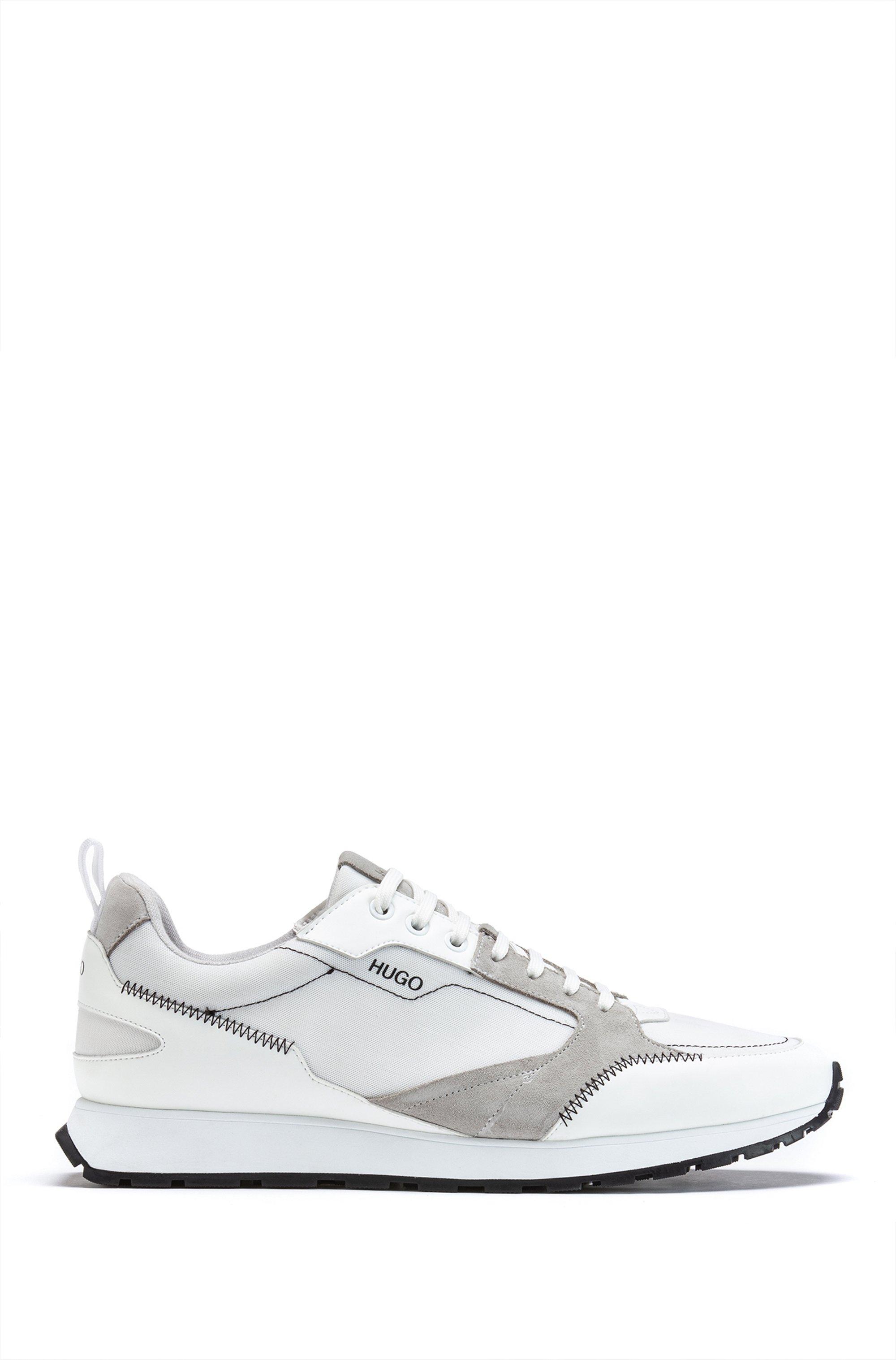 Sneakers in retrolook van mesh en suède, Grijs