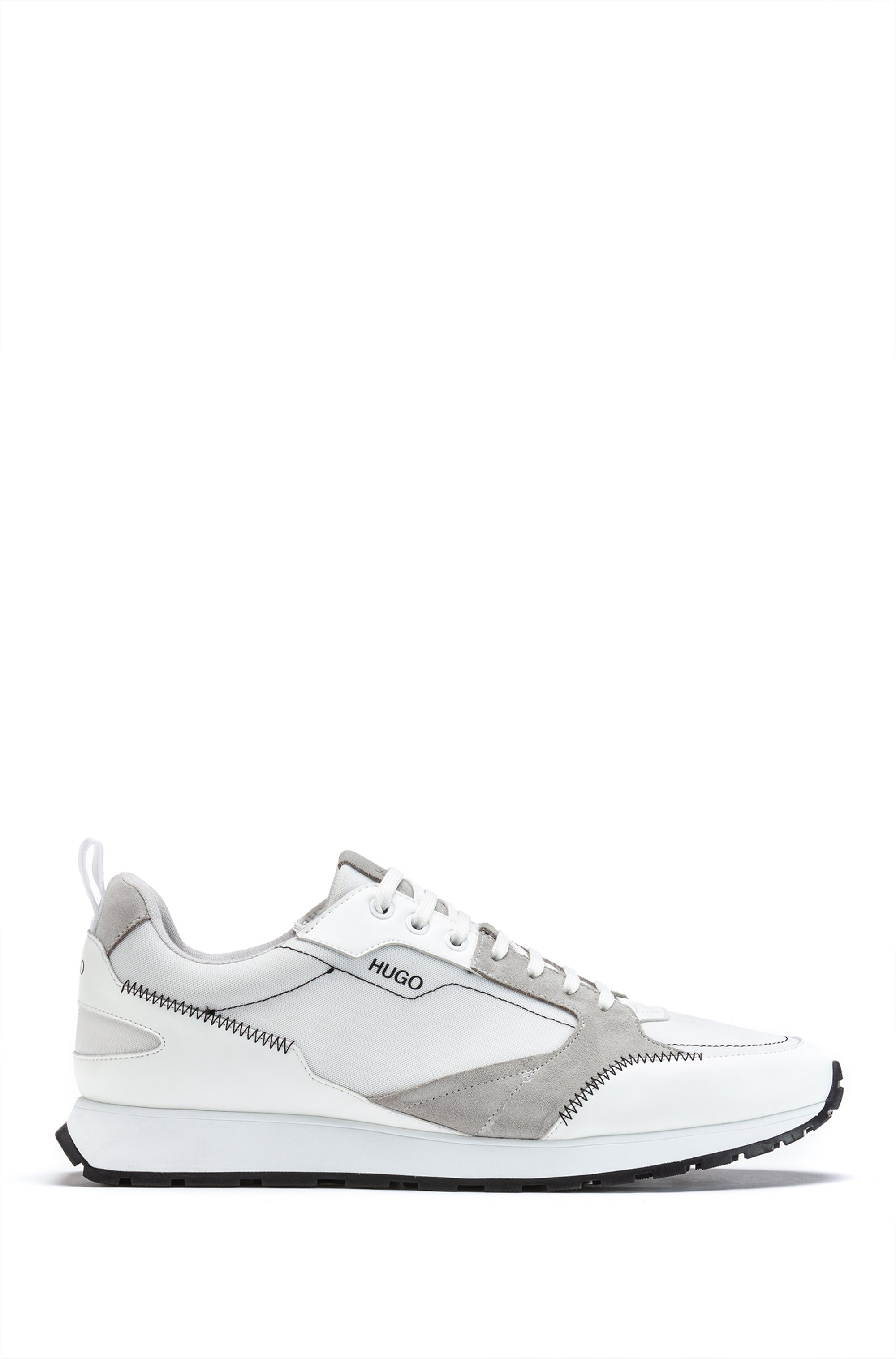 Retro-inspired trainers with mesh and suede, Grey