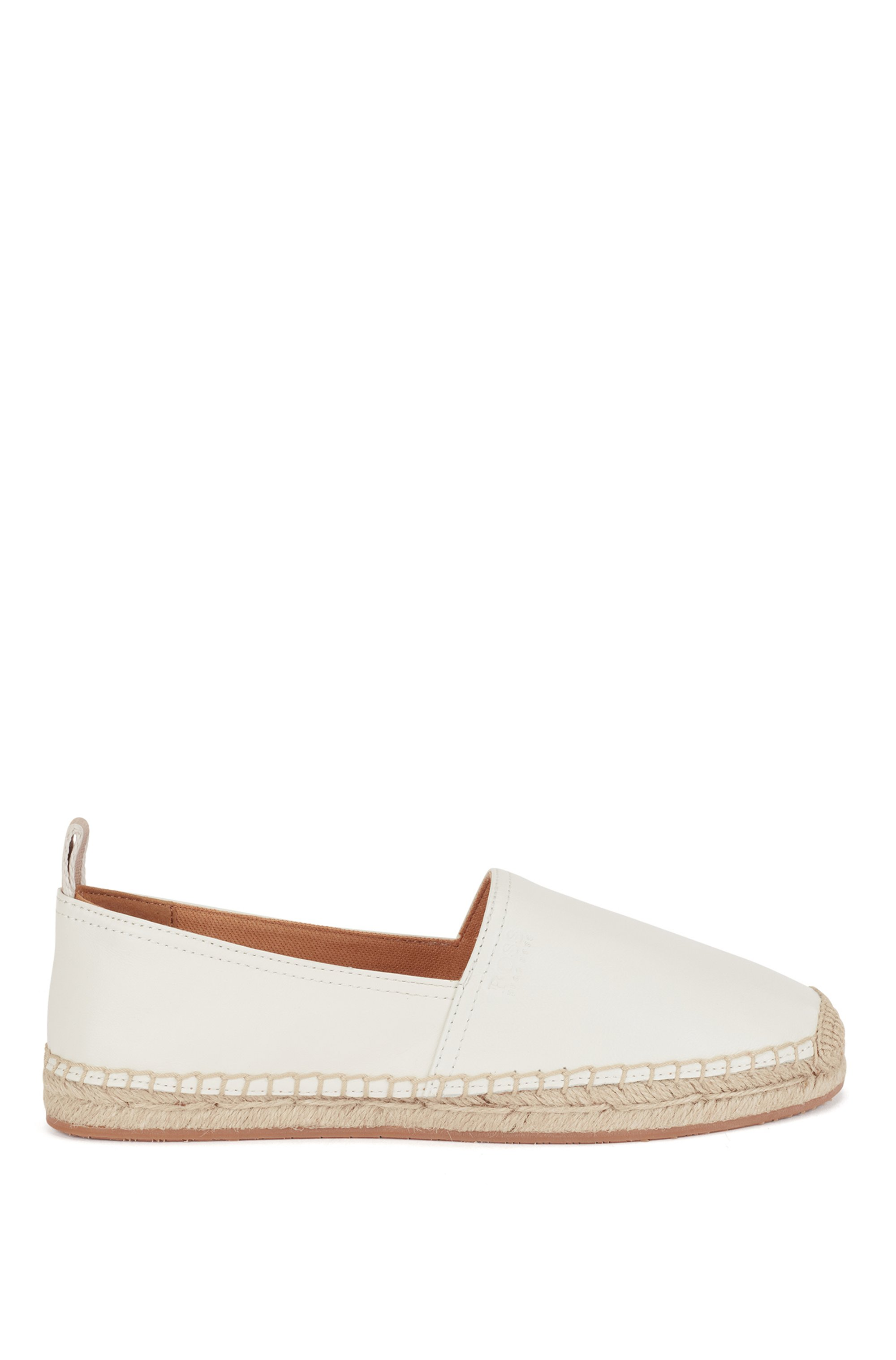 Espadrilles in nappa leather with embossed logo, White