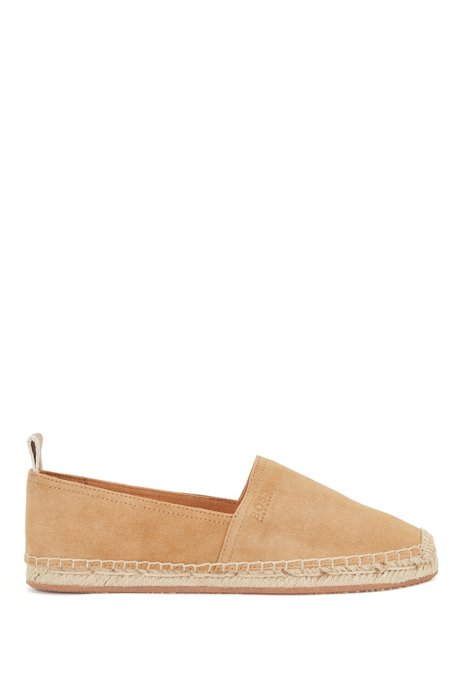 Suede espadrilles with rope-lined sole, Beige