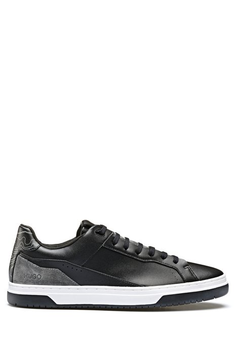 Skate-inspired trainers with topographic map detail, Black