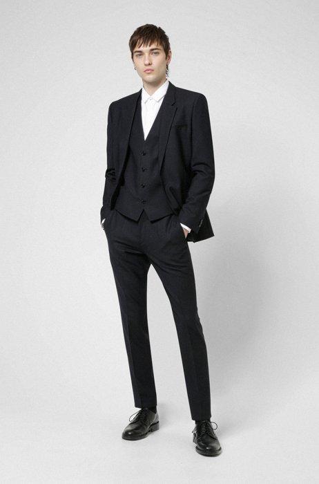 Extra-slim-fit three-piece suit in super-flex fabric, Dark Blue