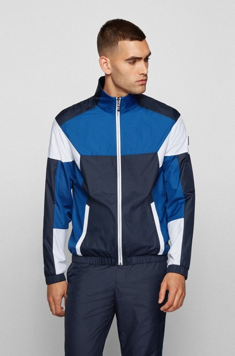 Colour-block water-repellent jacket in recycled material, Dark Blue