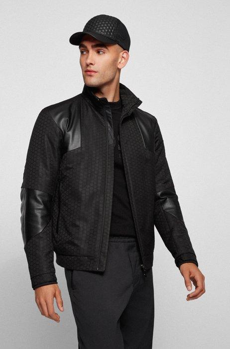 Veste déperlante en jacquard hexagonal avec empiècements en similicuir, Noir