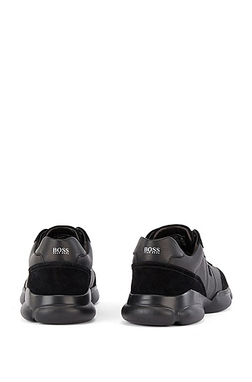纳帕革和麂皮跑步运动鞋,  001_Black
