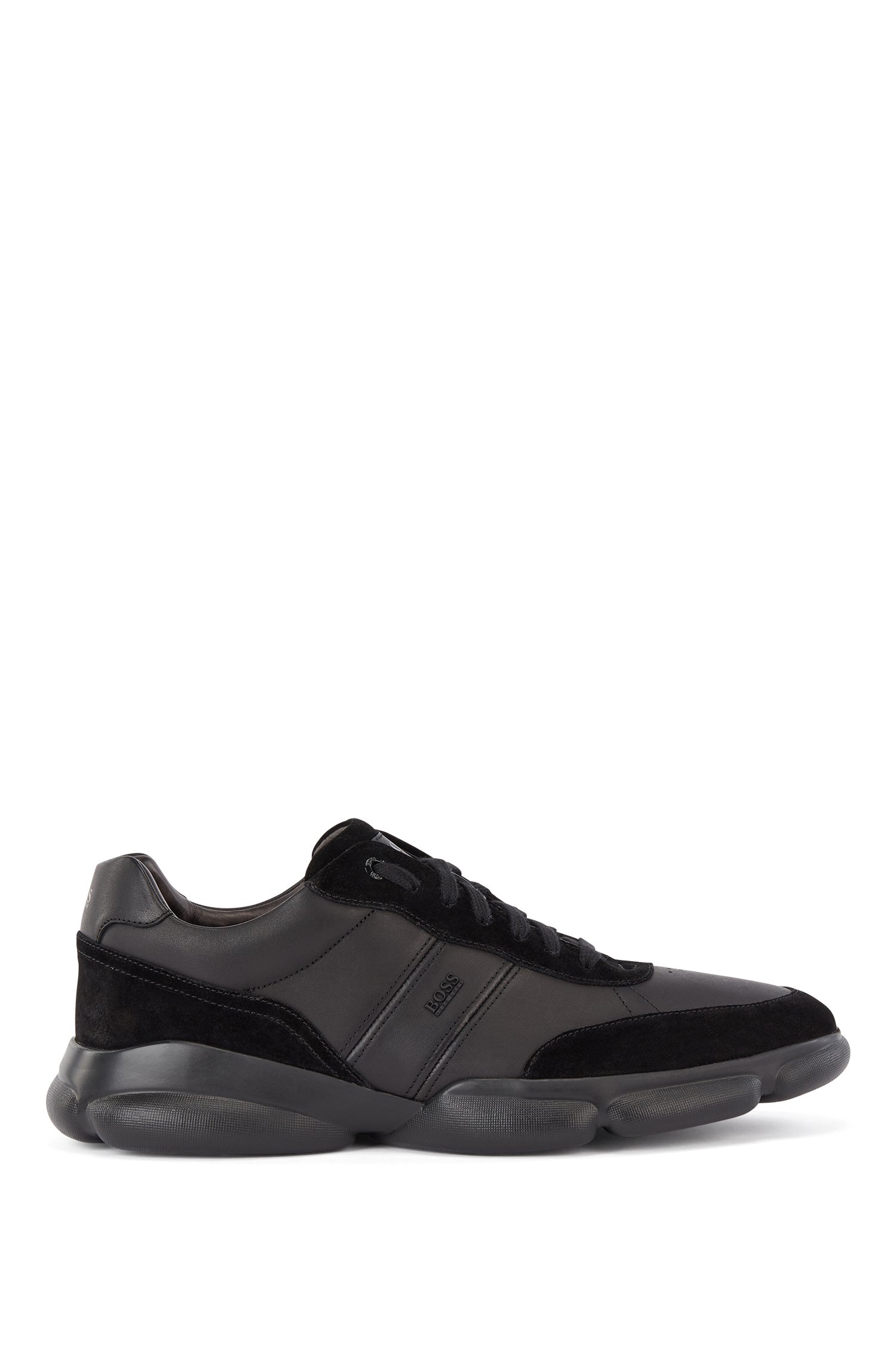Running-inspired trainers in nappa leather and suede, Black