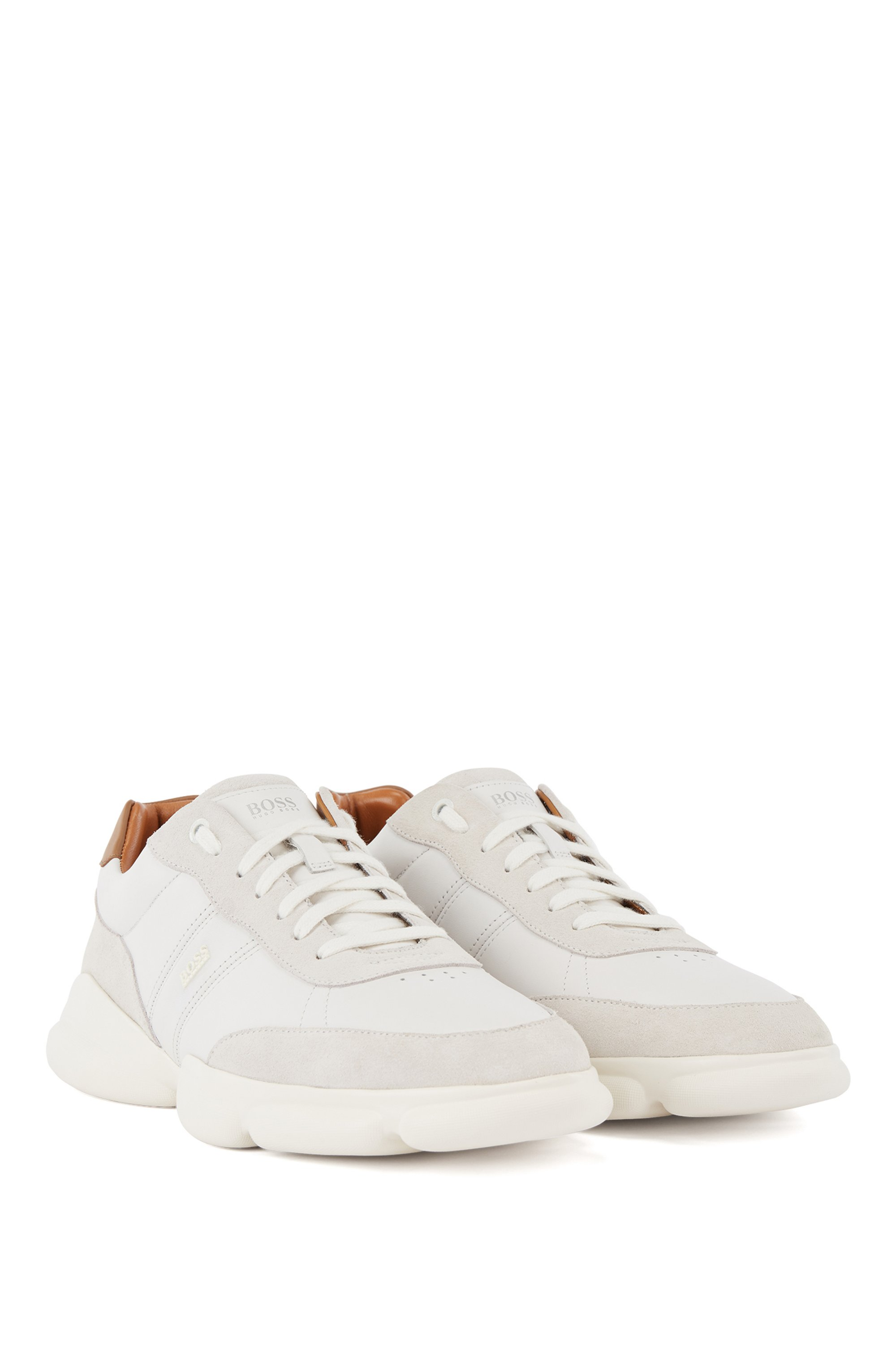 Running-inspired trainers in nappa leather and suede