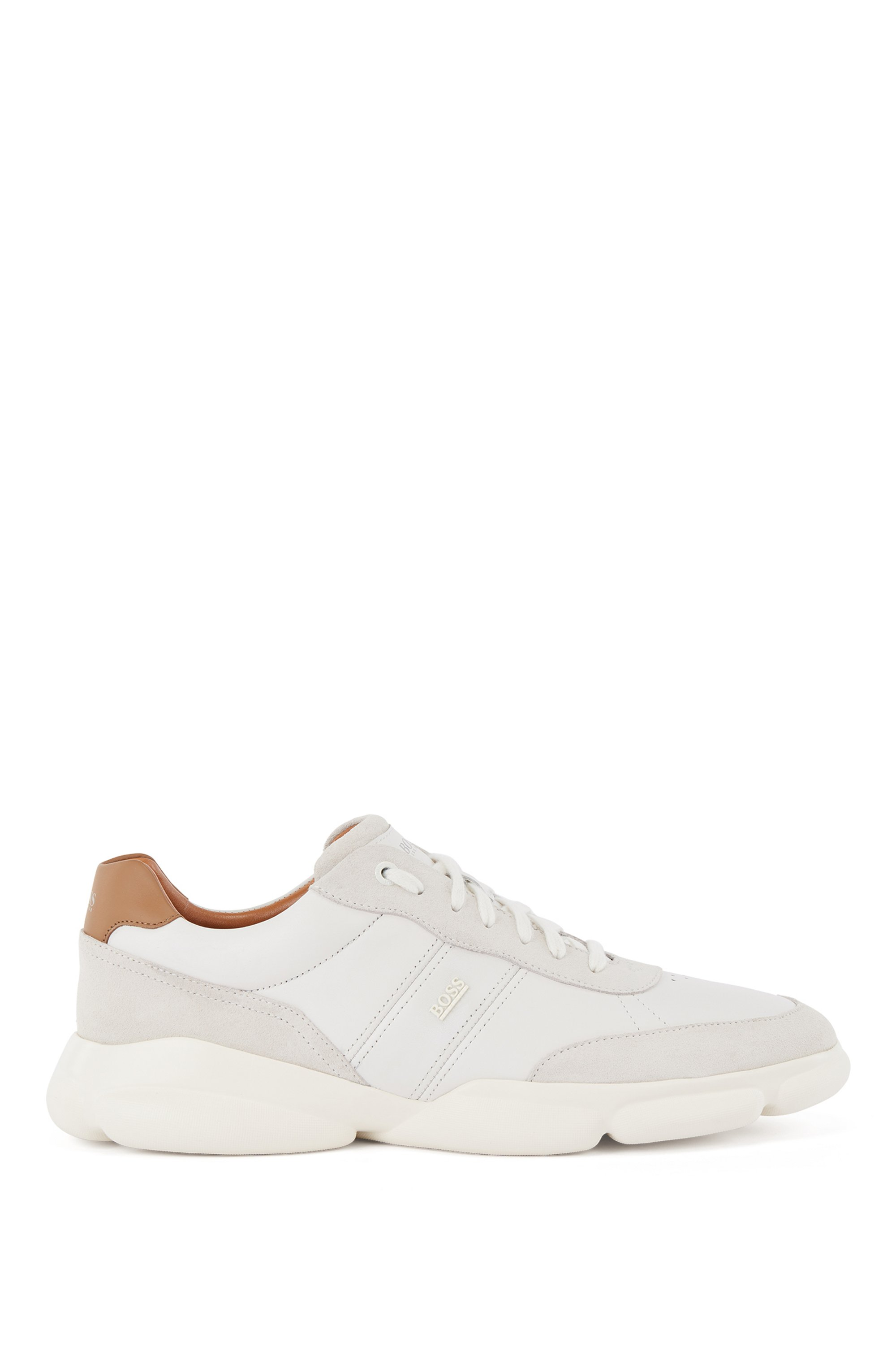 Running-inspired trainers in nappa leather and suede, White