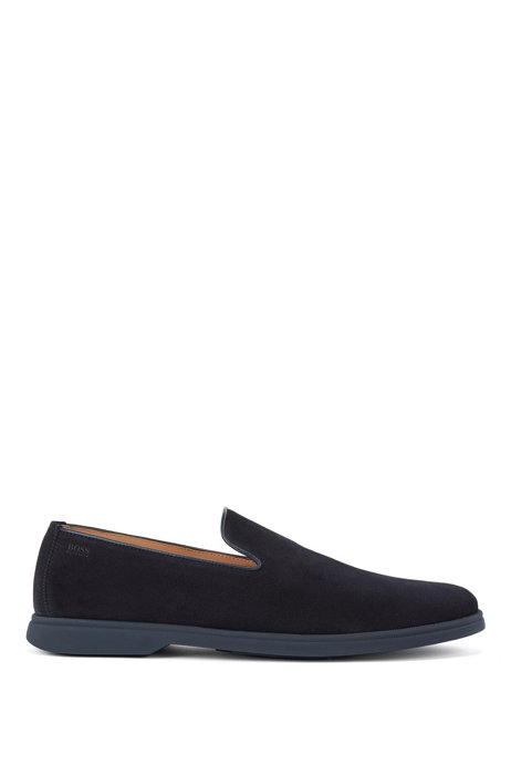 Suede loafers with embossed logo, Dark Blue