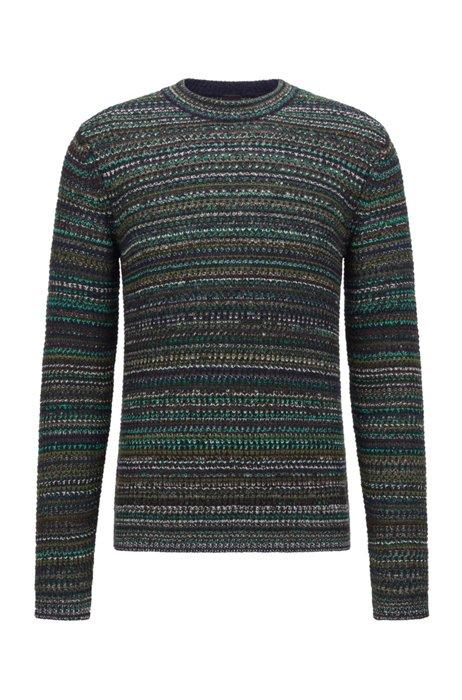 Pineapple-stitch regular-fit sweater with logo badge, Black