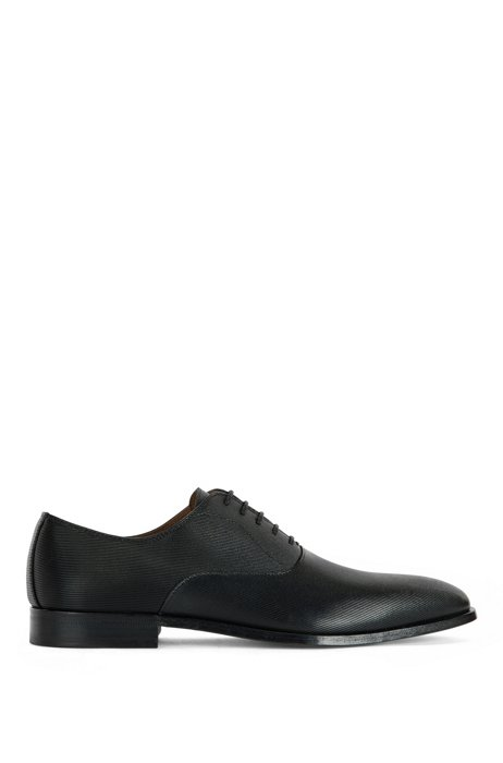 Printed-leather Oxford shoes with stitched details, Black