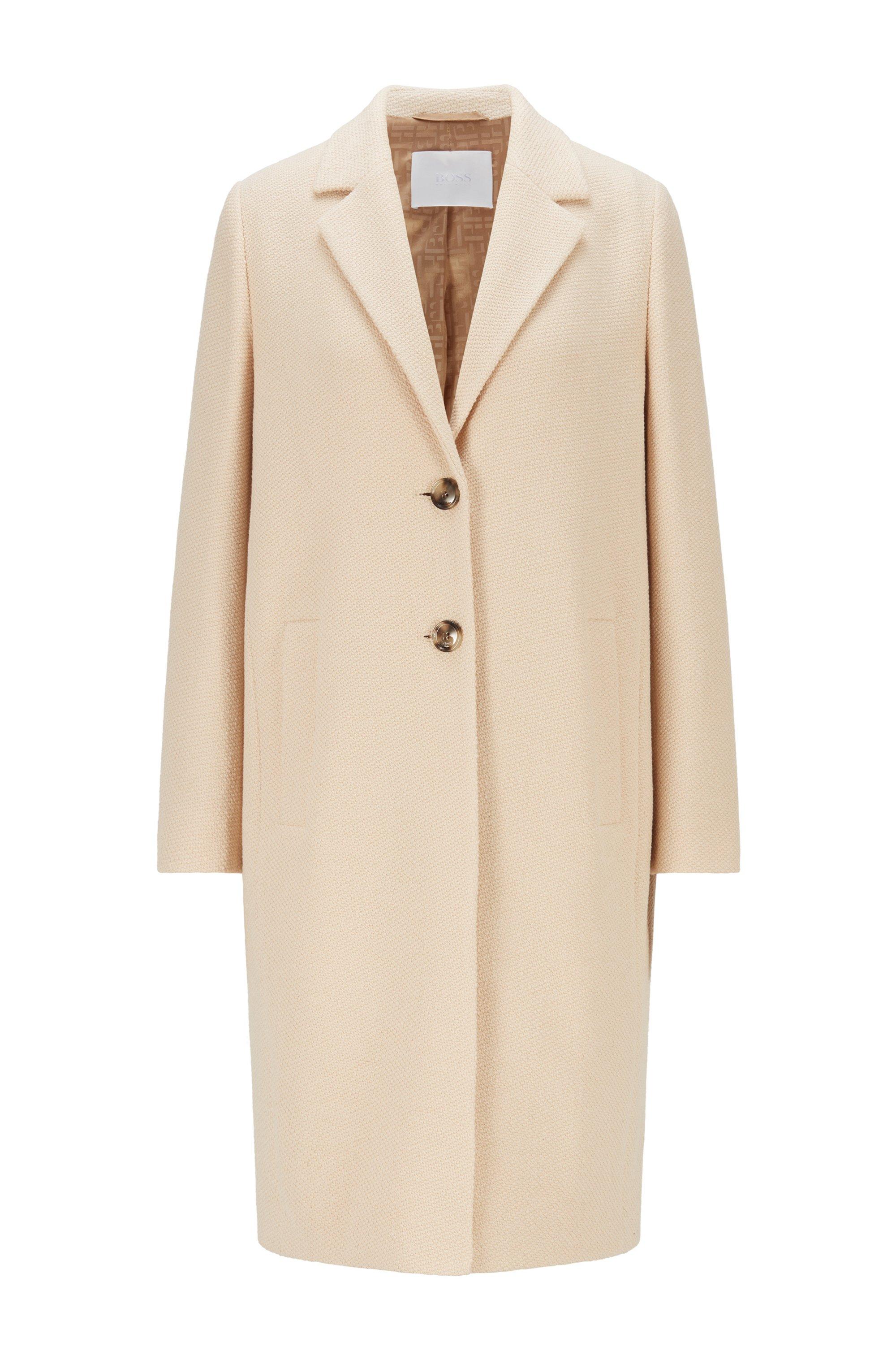 Tweed-Mantel mit Innenfutter aus Logo-Jacquard, Beige