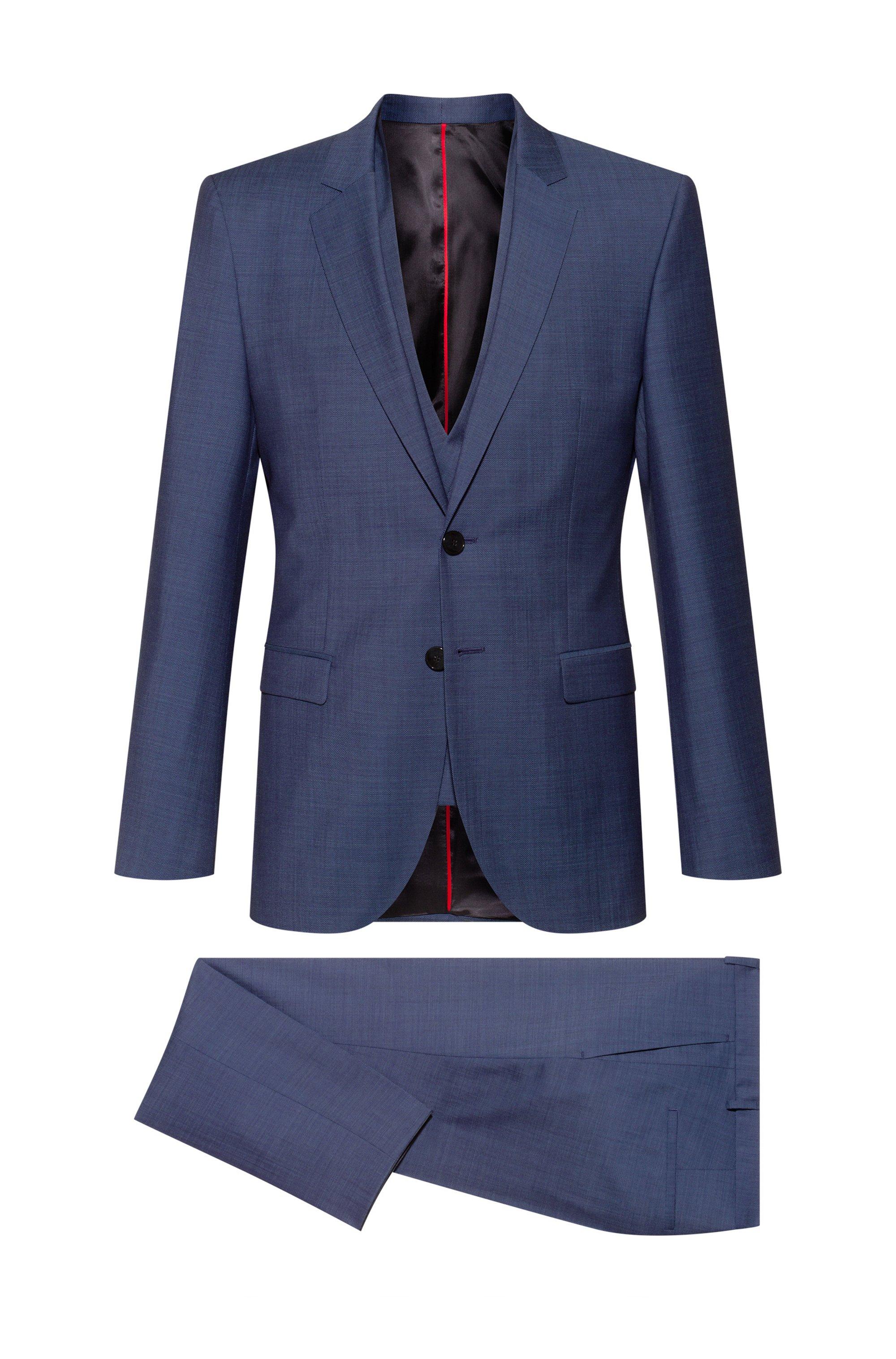 Extra-slim-fit three-piece suit in micro pattern, Dark Blue