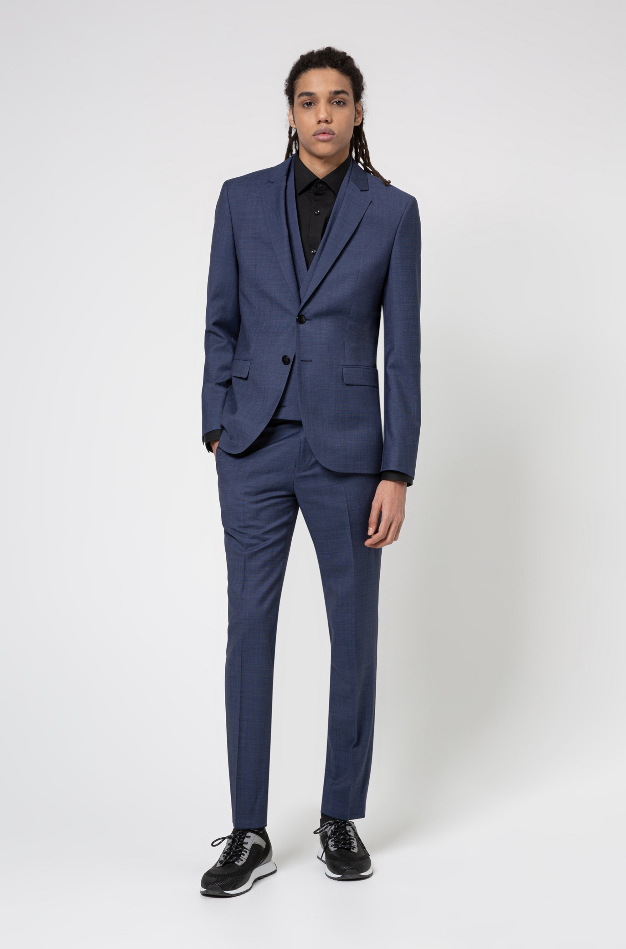 Extra-slim-fit three-piece suit in micro pattern