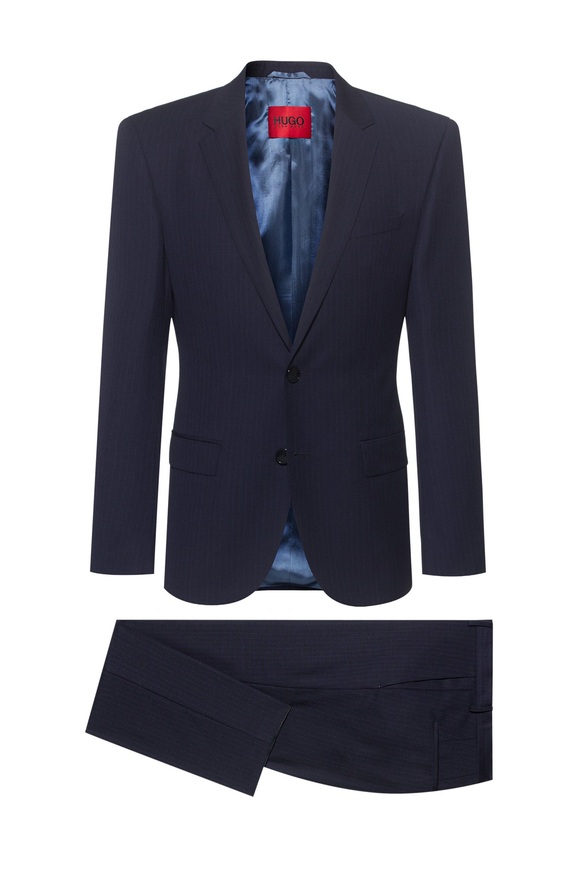 Pinstripe slim-fit suit in virgin-wool serge, Dark Blue