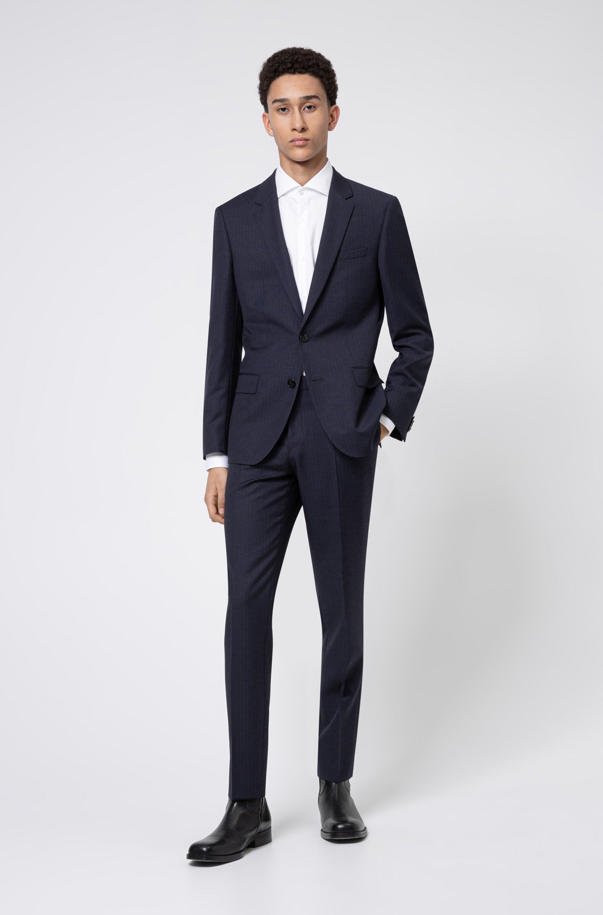 Pinstripe slim-fit suit in virgin-wool serge
