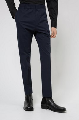 Extra-slim-fit trousers in performance-stretch fabric, Dark Blue